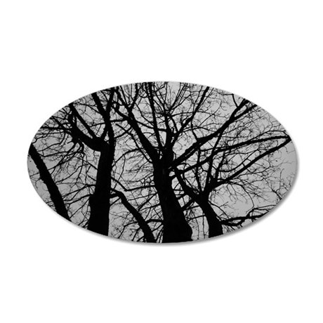 Maple Tree In Winter Fractal 35x21 Oval Wall Decal
