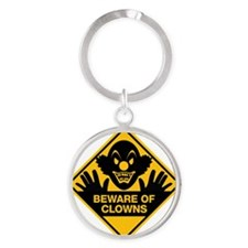 Beware of Clowns Round Keychain