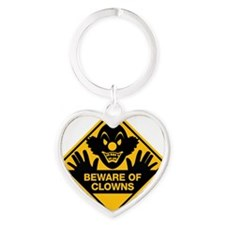 Beware of Clowns Heart Keychain