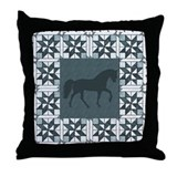 Racking Horse Teal Throw Pillow