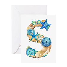 Beach Theme Initial S Greeting Card