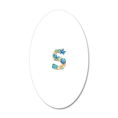 Beach Theme Initial S 20x12 Oval Wall Decal