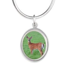 Fawn in field Silver Oval Necklace