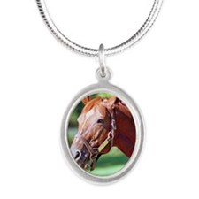 SECRETARIAT Silver Oval Necklace