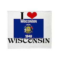 I HEART WISCONSIN FLAG Throw Blanket