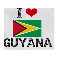 I HEART GUYANA FLAG Throw Blanket