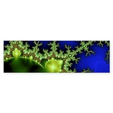 neon Green Blue Fractal Bumper Sticker
