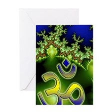 Aum Om Neon Green Blue Fractal Greeting Card