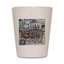 farm tractor vintage folk art Shot Glass