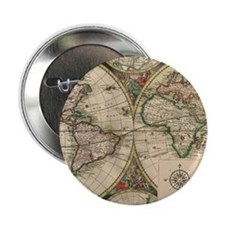 """Antique Old World Map 2.25"""" Button"""