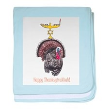 Happy Thanksgivukkah Turkey and Menorah baby blank