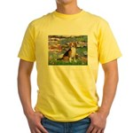 Lilies (#2) - Beagle #7 Yellow T-Shirt