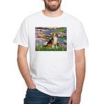 Lilies (#2) - Beagle #7 White T-Shirt