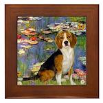 Lilies (#2) - Beagle #7 Framed Tile