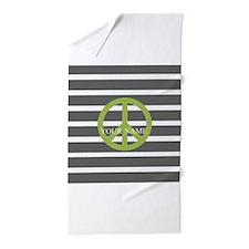 Peace Sign Charcoal Stripes Beach Towel