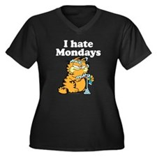I Hate Mondays Women's Plus Size V-Neck Dark T-Shi