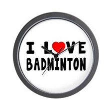 I Love Badminton Wall Clock