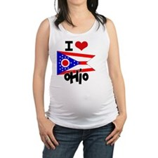 I HEART OHIO FLAG Maternity Tank Top