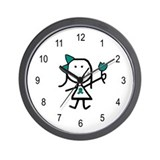 Girl & Teal Ribbon Wall Clock
