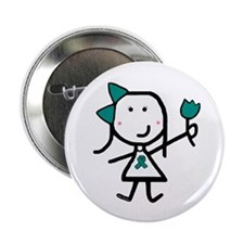 "Girl & Teal Ribbon 2.25"" Button (100 pack)"