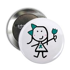 Girl & Teal Ribbon Button