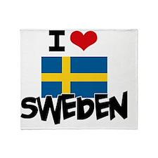 I HEART SWEDEN FLAG Throw Blanket