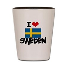 I HEART SWEDEN FLAG Shot Glass