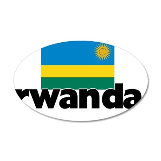 I HEART RWANDA FLAG 35x21 Oval Wall Decal