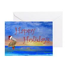 Santa Beach Pelican Greeting Card