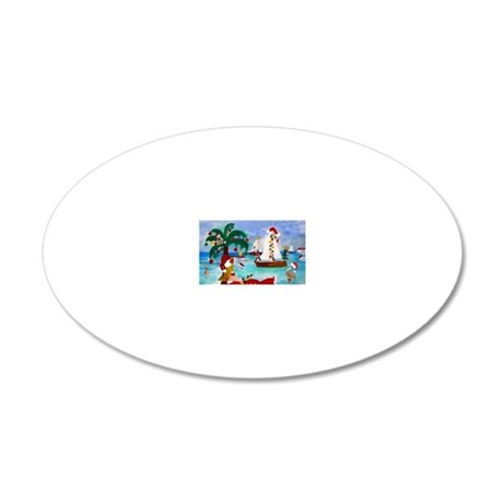 Christmas Boat Parade 20x12 Oval Wall Decal