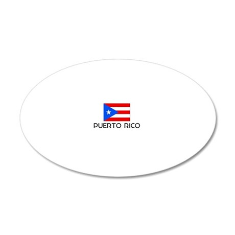 I HEART PUERTO RICO FLAG 20x12 Oval Wall Decal