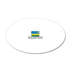 I HEART RWANDA FLAG 20x12 Oval Wall Decal