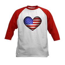 3D USA Flag Heart Tee
