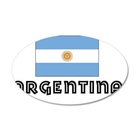 I HEART ARGENTINA FLAG 35x21 Oval Wall Decal