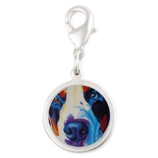 Greater Swiss Mountain Dog Silver Round Charm