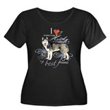 Siberian Husky Women's Plus Size Scoop Neck Dark T
