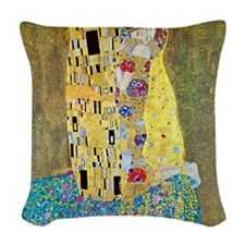 The Kiss by Gustav Klimt, Vint Woven Throw Pillow