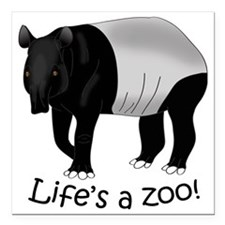 "Malayan Tapir Dark Square Car Magnet 3"" x 3"""