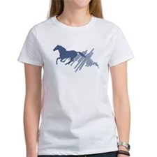 Wild horse gallop, art brush. Tee