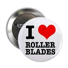 "I Heart (Love) Roller Blades 2.25"" Button (10 pack"