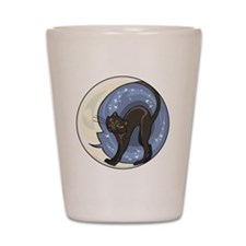 black cat and starry moon Shot Glass