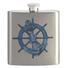 Blue Ship Anchor And Helm Flask