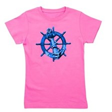 Blue Ship Anchor And Helm Girl's Tee