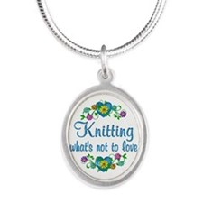 Knitting to Love Silver Oval Necklace