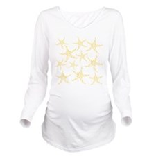 Yellow Dotty Starfish. Long Sleeve Maternity T-Shi