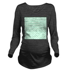 Mint Green Zigzags. Long Sleeve Maternity T-Shirt