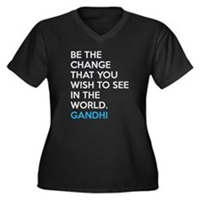 Ghandi Be The Change Quote Plus Size T-Shirt