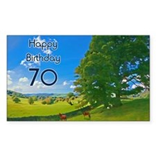 70th Birthday card with landsc Decal