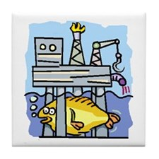 Off Shore Oil Rig Tile Coaster