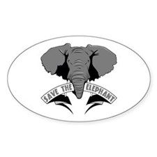 Save The Elephant Oval Decal